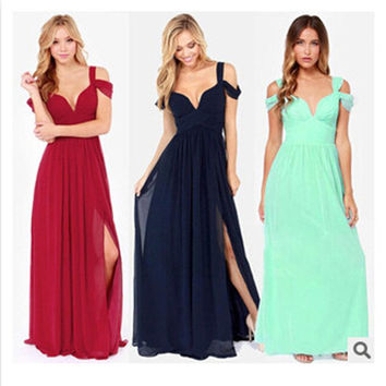 Women's Ladies Greek Style Long Chiffon Pleated Dress Deep V-neck Sexy Evening Cocktail Maxi Dresses D_L = 4756868740