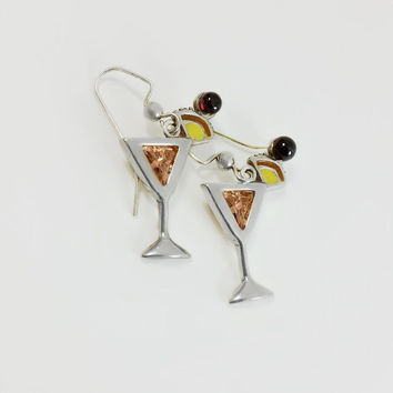 Sterling Martini Earrings - Martini Glass Earrings - Silver Gemstone Earrings - Retired Silpada Earrings