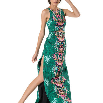 Mara Hoffman CDC Cut-Out Maxi Dress in Maristar Green