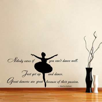 Quote About Dance Life Ballet with Dancer Ballerina Vinyl Decal Home Wall Decor Dance School Studio Stylish Sticker Unique Design Room V515