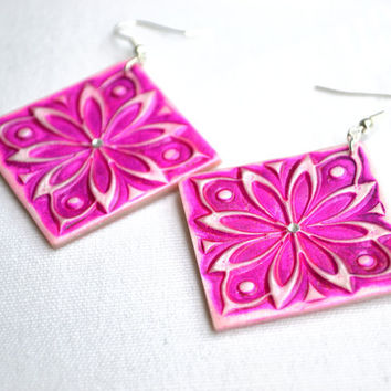 Fuchsia floral earrings with rhinestone - polymer clay earrings