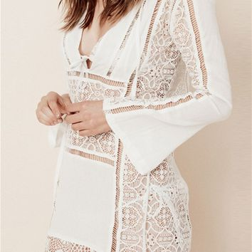 For Love & Lemons Swim Caracas Lace Mini Dress in White