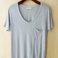 Perfectly Imperfect One-Pocket Shabby Tee, Silver Gray #2