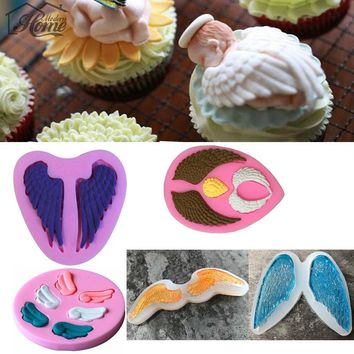 Angel Wings Silicone Mold Wedding Decoration Cake Decorating Tools Chocolate Ice Fondant Sugar Craft Kitchen Baking DIY Cupcake