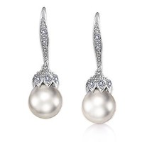 Mothers Day Gifts Pave Crown Simulated Pearl Drop Leverback Bridal Earrings Rhodium Plated