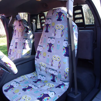 1 Set Of Cute Owls Print Seat Cover And Steering Wheel Custom Made