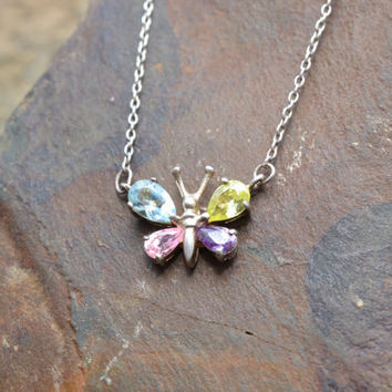 Sterling Silver Rainbow Gemstone Butterfly Necklace