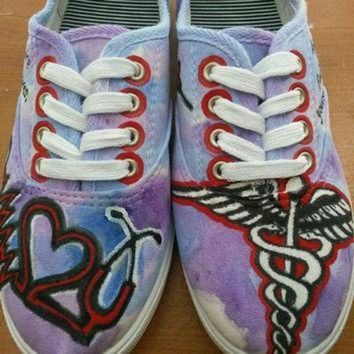 ICIKGQ8 custom made nursing rn painted shoes toms converse vans keds nurse painted shoes