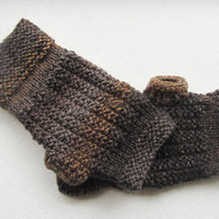 Knitted Fingerless Gloves in Brown/Grey,Warm Mittens,Handmade Gloves,Boho Winter Gloves,Knit Women Accessories,Gifts for Her,Men's Gifts