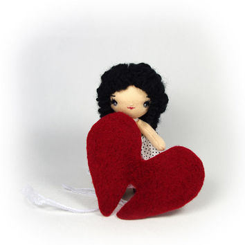 Valentines gift - Miniature cloth doll - Fabric doll - 3,5 inch (9 cm) Love Angel doll