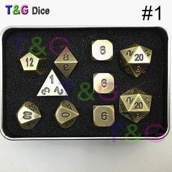 Family Friends party Board game Top Quality Metal Elven Dice Set of 10 with Metal Box for Role Playing Game TRPG Games For Dungeons Dragons Rpg  Dice AT_41_3