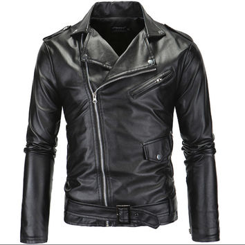 Hot 2016 Men's autumn winter brand rock leather jacket, motorcycle jacket, men leather clothes Slim mens leather jacket Coats