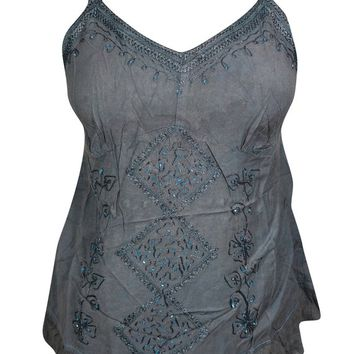 Beautiful Sequin Embroidered Spaghetti Top Blouse Gray Boho Chic Stylish Tank Top