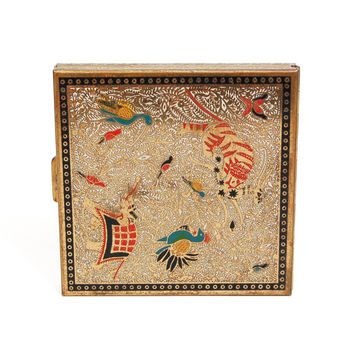 Volupte Compact, Exotic Animals, Asian Inspired, Gold, Colorful, Painted Enamel Pressed Powder, Glam, 1950s