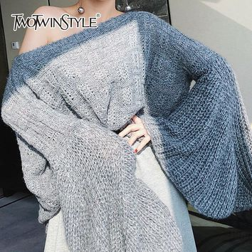 TWOTWINSTYLE Flare Sleeve Women's Sweater Oversize Knitting Pullover Female Korean Style 2018 Autumn Fashion Casual Clothes Tops