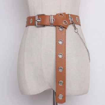 "40"" faux leather eyelet adjustable long chain belt 1.25"" wide"