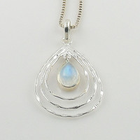 Moonstone Sterling Silver Tear Drop Pendant