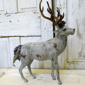 Large buck statue painted gray w/ deep dark gold antlers antique farmhouse standing stag deer or elk figure home decor anita spero design
