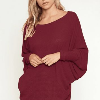 Women's Textured Knit Off-Shoulder Top with Dolman Sleeves