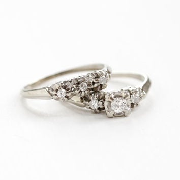 Vintage 14k White Gold 1 4 CTW Diamond Engagement Ring And Wedding Band Set