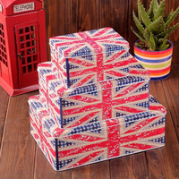Set of 3: Retro Vintage British Flag Style Tin Box, Christmas Gift Wrapping, Gift Packaging, Home Decor, London