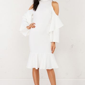 Ruffled Midi Dress With Shoulder Cutout Detail in Ivory