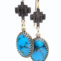 Turquoise Cross Earrings  Bohemian Jewelry
