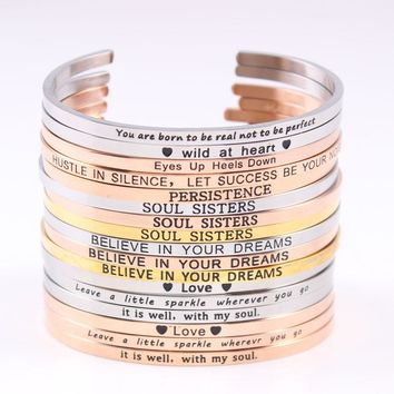 Rose Gold Stainless Steel Engraved Quotes