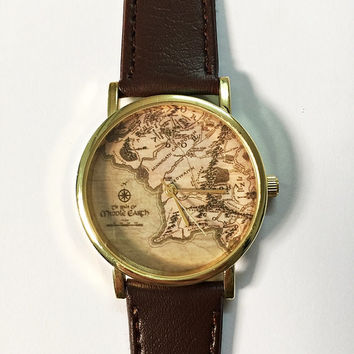 Middle Earth Map Watch  ,Lord of The Rings,Vintage Style Leather Watch, Women Watches, Boyfriend Watch, World Map, Men's Watch,