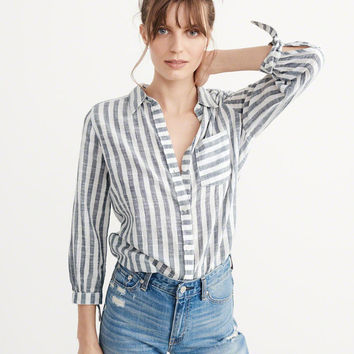 Womens Tie Sleeve Shirt | Womens Tops | Abercrombie.com