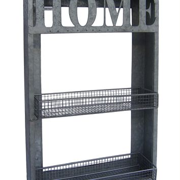 Galvanized Metal HOME Wall Rack with Two Shelves - 24-in