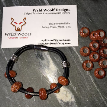 Corded leather bracelet, red Goldstone, semi precious gemstone beads, beautiful unique bracelet
