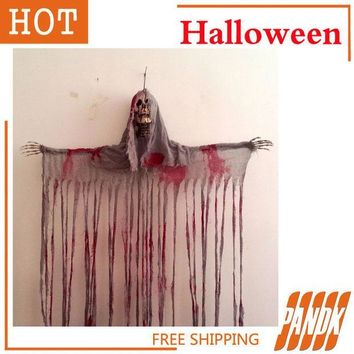 CREYET7 Hanging Reaper SKULL Head Zombie haunted house decorated Halloween props acoustic ghosts skeleton bloody door Skull curtain