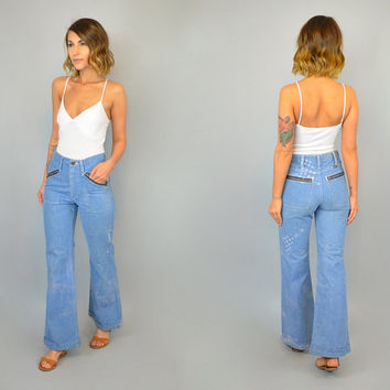 Vtg 70s BLEACHED OUT high waist boho americana distressed WRANGLER bell bottom denim jeans, extra small xs