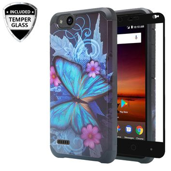 ZTE Tempo X Case, Tempo Go, Blade Vantage, Avid 4, ZFive C, ZFive G, N9137, Z557BL, Z558VL,[Include Temper Glass Screen Protector] Slim Hybrid Dual Layer [Shock Resistant] Case for Tempo X - Blue Butterfly