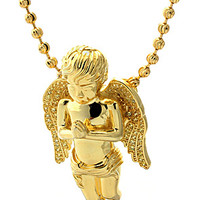 King Ice Gold Praying Guardian Angel CZ925 Sterling Silver Necklace