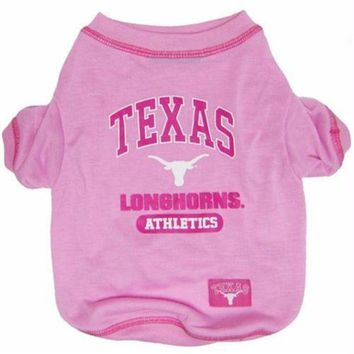CREYON Texas Longhorns Pink Dog Tee Shirt