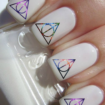 Galaxy Deathly Hallows Harry Potter nail decals tattoos nail art