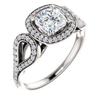 Cubic Zirconia Engagement Ring- The Roya (Customizable Cathedral-Halo Cushion Cut Design with Wide Ribbon-inspired Split-Pavé Band)