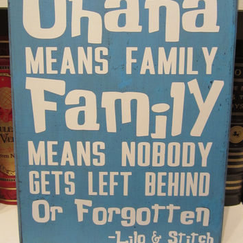 XL Vinyl Decal Craft Sign - Disney Inspired - Lilo and Stitch - Ohana Means Family - Quote