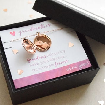 Rose Gold Locket for Grandmother with Tiny Personalized Hearts - 1361