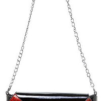 Sourpuss Bat Wing Clutch Purse Black With Red Wings