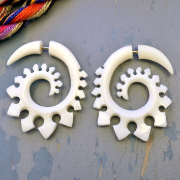 Fake Gauge Earrings Bone Earrings  Spade Spirals Tribal Earrings - Gauges Plugs Bone Horn - FG023 ALL