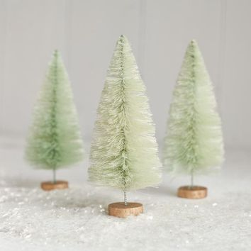 6 Inch Minty Bottle Brush Trees - Light Green Sisal Christmas Trees