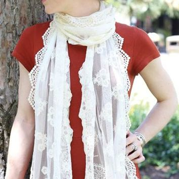 Edelweiss Scarf - White Crochet Scarf, Cream Lace Scarf
