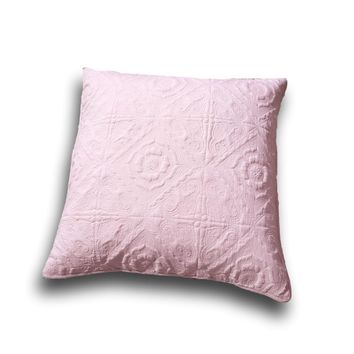 "DaDa Bedding Elegant Country Floral Rose Pink Euro Pillow Sham Cover, 26"" x 26"",  2-PCS (JHW860)"
