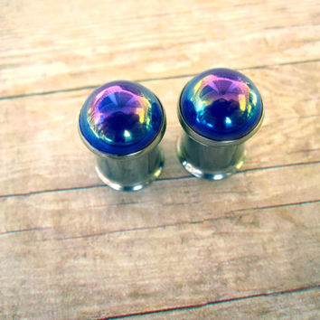 Pair of Blue AB Button Plugs - Girly Gauges - 0g, 00g, post earrings - Rainbow AB - Iridescent