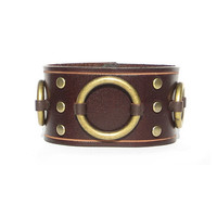 Lucky Dog Leather Ring Cuff - Brown