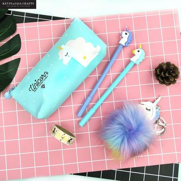 Unicorn Pencil Case Set Quality PU School Supplies Bts Stationery Gift Set Pencilcase School Cute Pencil Box Bts School Tools