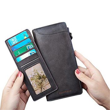 Women RFID Blocking Leather Wallet Clutch Zipper Coin Pocket Checkbook Organized Purse with Removable Card Holder